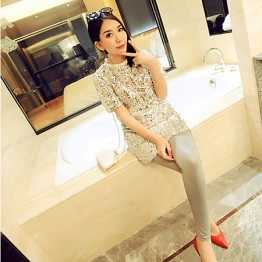 TE9223YBF Fire crack pattern spandex slim leggings