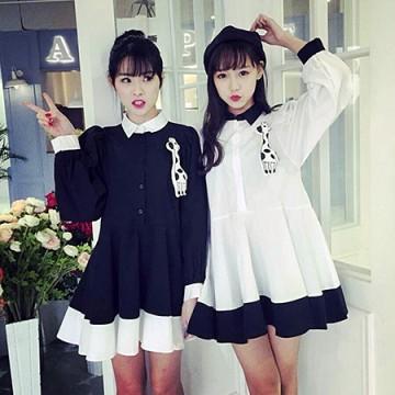 TE8092SWFC Korean fashion shirt collar contact color giraffe wide hem dress