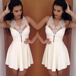 TE8027ZYFS Summer Europe fashion sexy v-neck lace dress