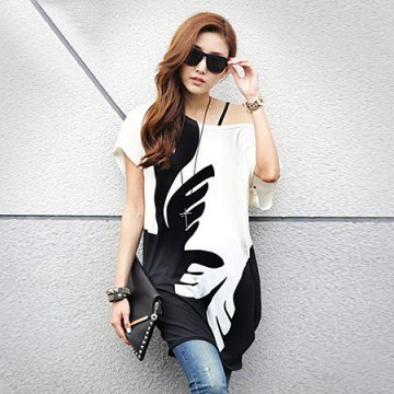 TE86147JYS Korean fashion color matching round neck batwing sleeve T-shirt
