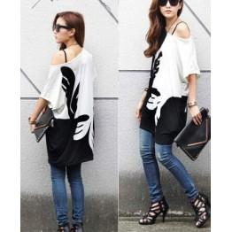 TE86147JYS Korean fashion color matching round neck batwing sleeve T-shirt