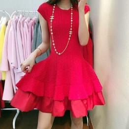 TE6085YZL Korean fashion jacquard weave bubble temperament dress