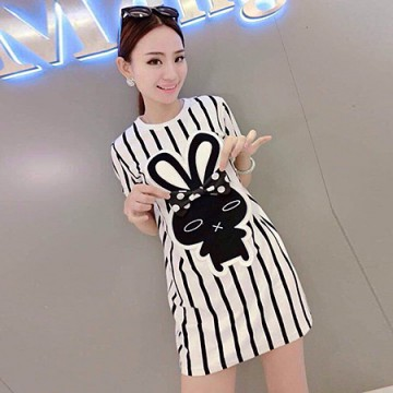 TE8599YGFS Summer vertical stripes cartoon pattern slim dress