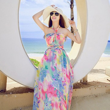 TE8602YYM Europe fashion bohemia shivering beach maxi dress