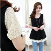 TE5325DFYL Slim waist lace sleeve fake two piece tops