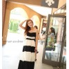 TE5328DFYL Black and white stripes matching maxi dress