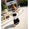 TE5328DFYL Black and white stripes matching maxi dress