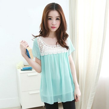 TE5330DFYL Fashion lace splicing chiffon shirt with vest two pieces