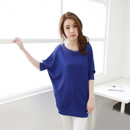 TE5326DFYL Spring new style fashion lace large size loose T-shirt