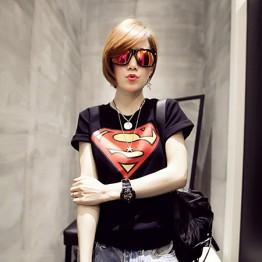 TE9017ALS Summer Korean style superman rabbit print slim T-shirt