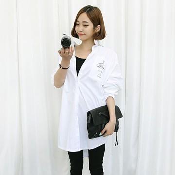 TE6148YZS Korean fashion casual print long sleeve loose shirt