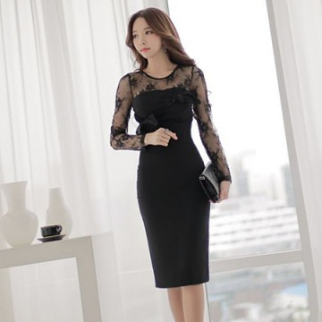 TE6147YZS Lace splicing sleeve hollow out backless dress