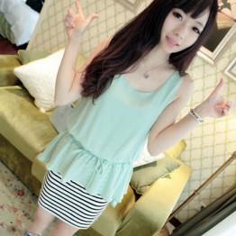 TE6149YZS Korean fashion chiffon stripes splicing fake two piece dress