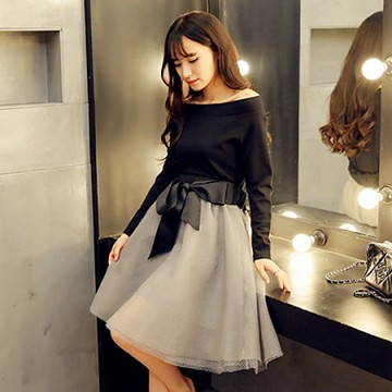 TE5836LBH New style boat neck slim tops with bowknot lacing bubble skirt