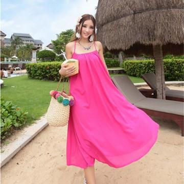 TE9098YYH Summer bohemia chiffon beach maxi dress