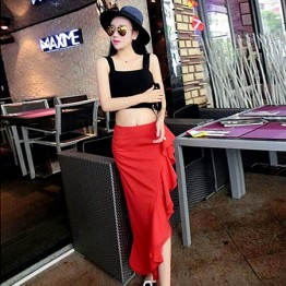 TE9289ZYWL Summer short empire waist tops with flouncing skirt