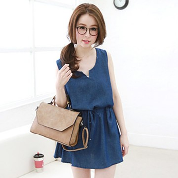 TE6166YZS Preppy style casual denim vest drawstring waist dress