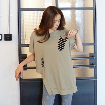 TE6168YZS Fashion holes irregular short sleeve T-shirt
