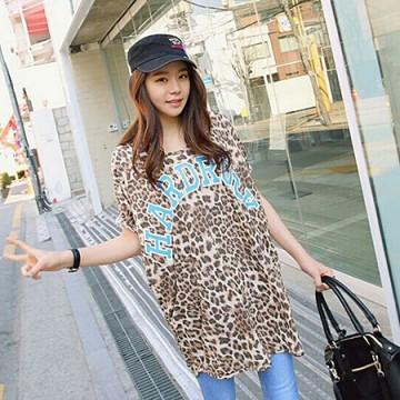 TE8775HJ Loose casual leopard T-shirt