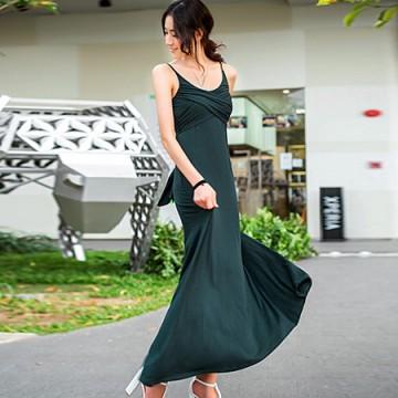 TE9055WMSS Bohemia style knitting gallus maxi dress green