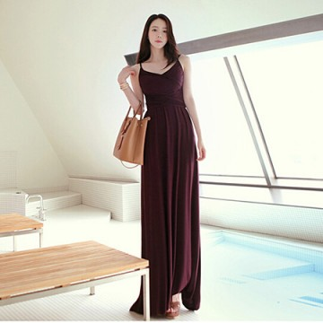 TE9055WMSS Bohemia style knitting gallus maxi dress wine red