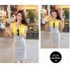 TE9071WMSS Color matching sleeveless tight hip dress