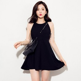TE9836MSJ Europe style sleeveless empire waist slim dress