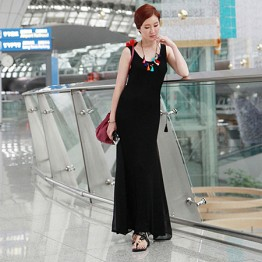 TE9838MSJ Slim casual slim tight hip maxi vest dress