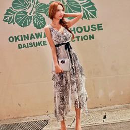 TE9843MSJ Bohemia print chiffon slim vest maxi dress