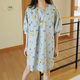 TE8522YY Japanese fashion banana cartoon loose dress