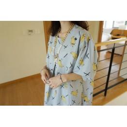 TE8522YY Japanese fashion banana cartoon loose dress