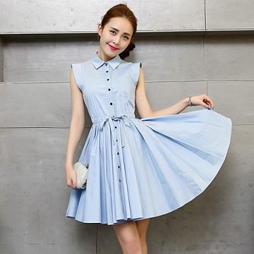 TE5606 Korean fashion lapel sleeveless pleat wide hem dress