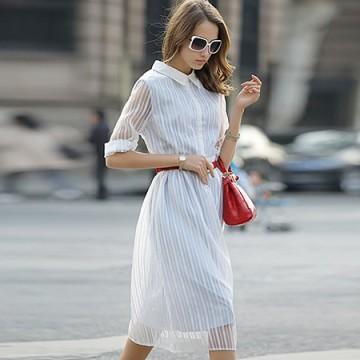 TE6366LDYZ Europe fashion stripes three quarter sleeve long dress grey