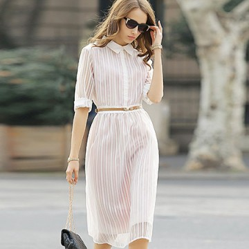 TE6366LDYZ Europe fashion stripes three quarter sleeve long dress pink