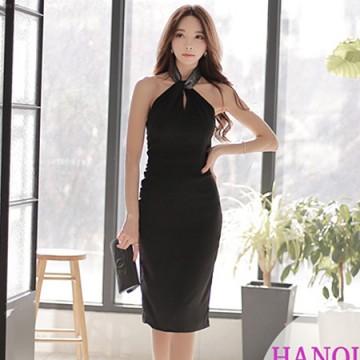 TE9083WMSS Temperament halter tight hip formal dress