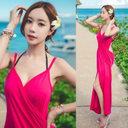TE9085WM Summer v-neck backless beach dress