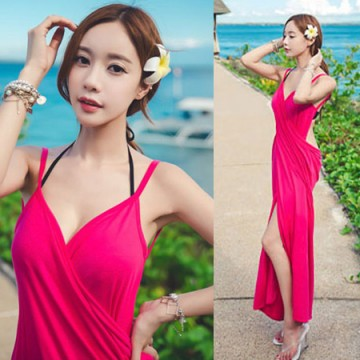 TE9085WM Summer v-neck backless beach dress