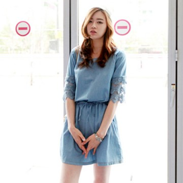 TE9576 Lace layers splicing lacing round neck dress