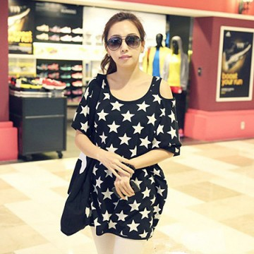 TE9950TT Korean fashion large size off shoulder stars print T-shirt