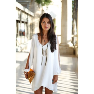 TE0777 Europe fashion v-neck large size chiffon dress