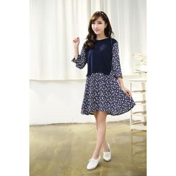 TE0799 Korean fashion shivering fake two piece dress