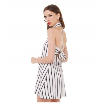 TE0810 Europe fashion sexy stripes bowknot backless halter dress