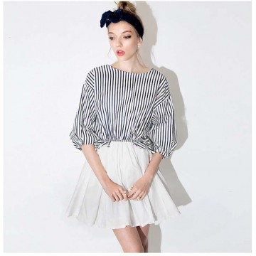 TE0811 Europe fashion navy stripes wide hem dress