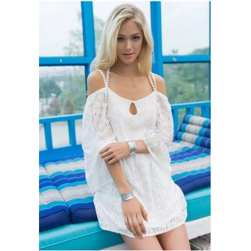 TE0812 Europe fashion sexy backless cross straps batwing sleeve lace tops