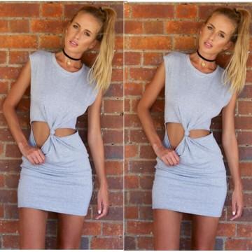 TE0814 Europe fashion sleeveless knot waist dress