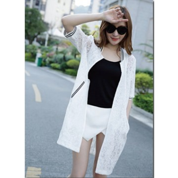 TE0820 Sunscreen lace hollow out long cardigan