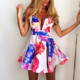 TE0823 Deep v-neck fashion flowers print sexy club dress