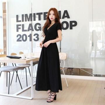 TE1003 Korean fashion v-neck slim short sleeve maxi dress