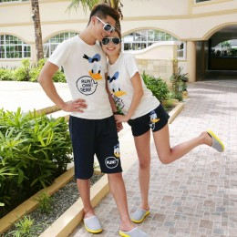 TE1028QQ Korean Fashion Duck Printing Couple T-shirt and Shorts Set for Girl