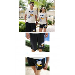 TE1028QQ Korean Fashion Duck Printing Couple T-shirt and Shorts Set for Boy